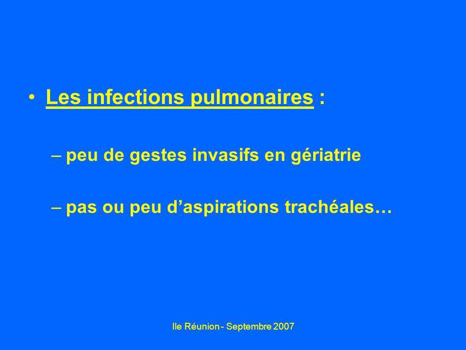 Ile Réunion - Septembre 2007 Les infections pulmonaires : –peu de gestes invasifs en gériatrie –pas ou peu daspirations trachéales…