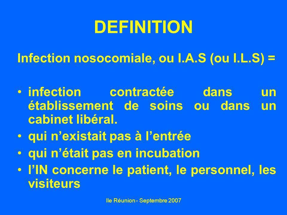 Ile Réunion - Septembre 2007 DEFINITION Infection nosocomiale, ou I.A.S (ou I.L.S) = infection contractée dans un établissement de soins ou dans un ca