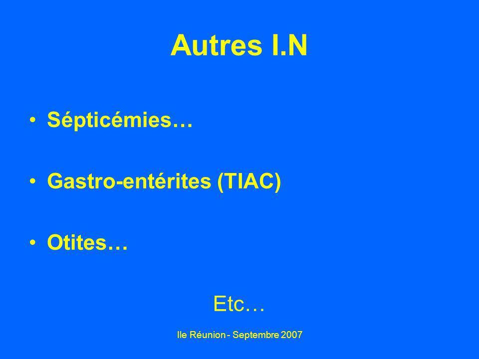 Ile Réunion - Septembre 2007 Autres I.N Sépticémies… Gastro-entérites (TIAC) Otites… Etc…