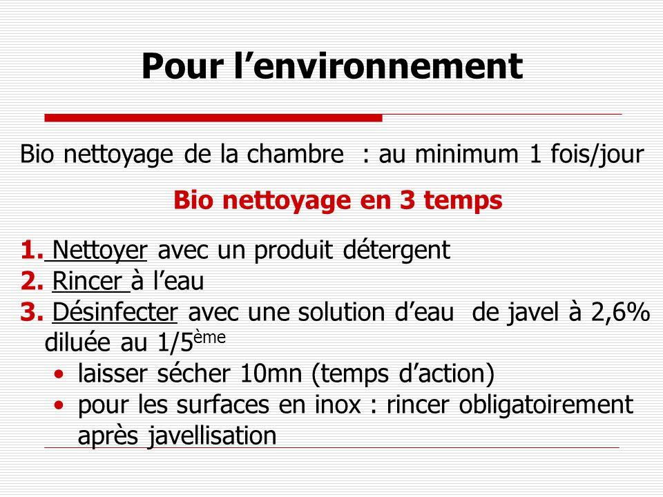 Pour lenvironnement Bio nettoyage de la chambre : au minimum 1 fois/jour Bio nettoyage en 3 temps 1. Nettoyer avec un produit détergent 2. Rincer à le