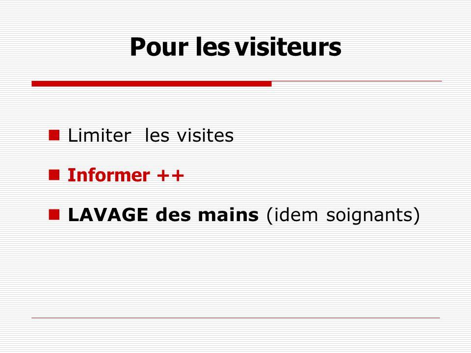 Pour les visiteurs Limiter les visites Informer ++ LAVAGE des mains (idem soignants)
