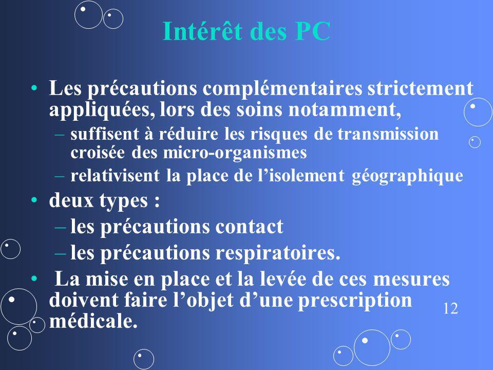 12 Intérêt des PC Les précautions complémentaires strictement appliquées, lors des soins notamment, – –suffisent à réduire les risques de transmission