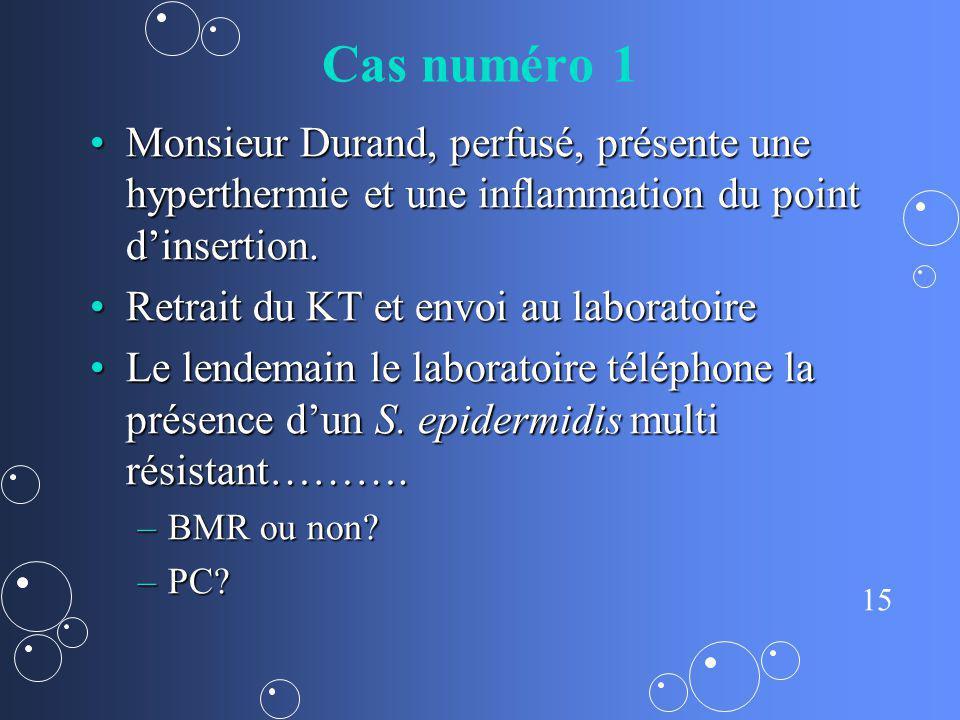 15 Cas numéro 1 Monsieur Durand, perfusé, présente une hyperthermie et une inflammation du point dinsertion.Monsieur Durand, perfusé, présente une hyp