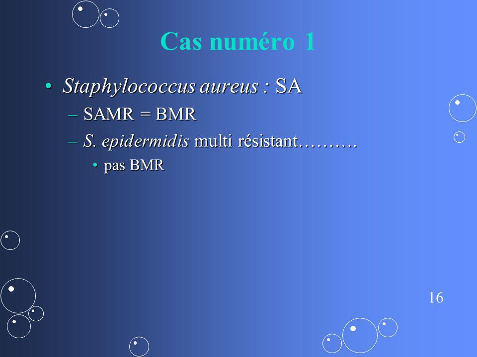 16 Cas numéro 1 Staphylococcus aureus : SAStaphylococcus aureus : SA –SAMR = BMR –S. epidermidis multi résistant………. pas BMRpas BMR