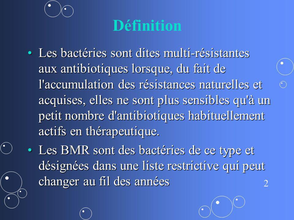 2 Définition Les bactéries sont dites multi-résistantes aux antibiotiques lorsque, du fait de l'accumulation des résistances naturelles et acquises, e