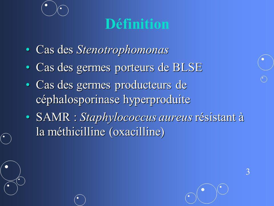 3 Définition Cas des StenotrophomonasCas des Stenotrophomonas Cas des germes porteurs de BLSECas des germes porteurs de BLSE Cas des germes producteur