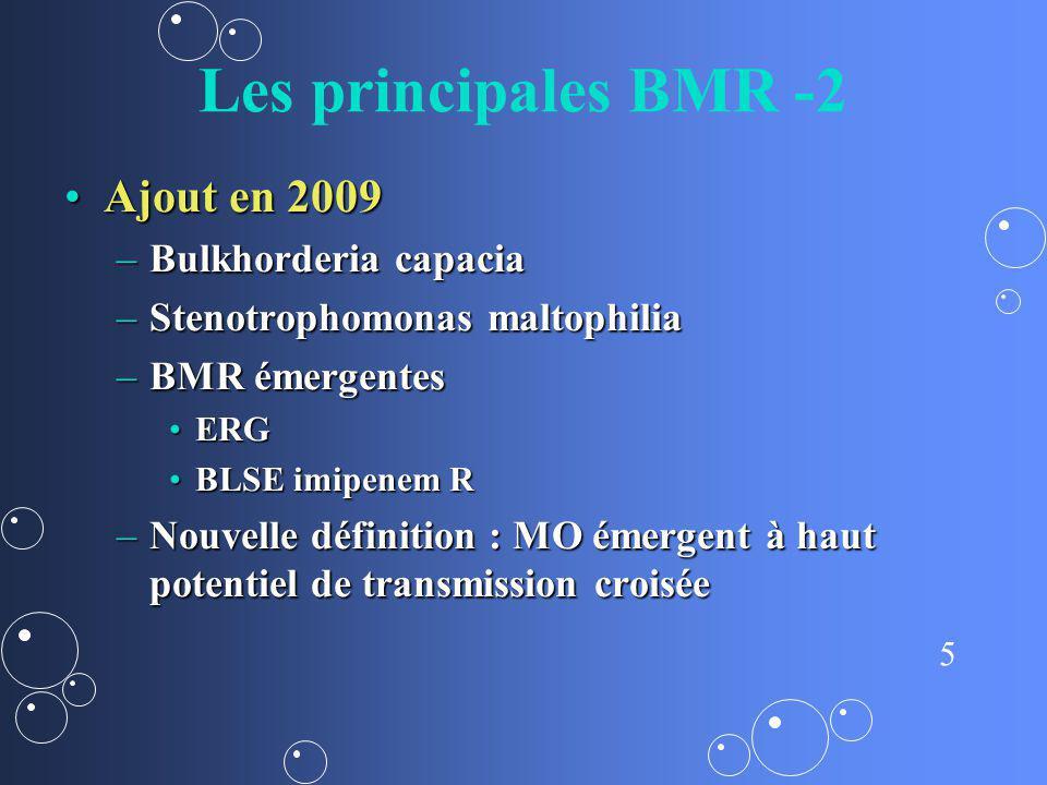 5 Les principales BMR -2 Ajout en 2009Ajout en 2009 –Bulkhorderia capacia –Stenotrophomonas maltophilia –BMR émergentes ERGERG BLSE imipenem RBLSE imi