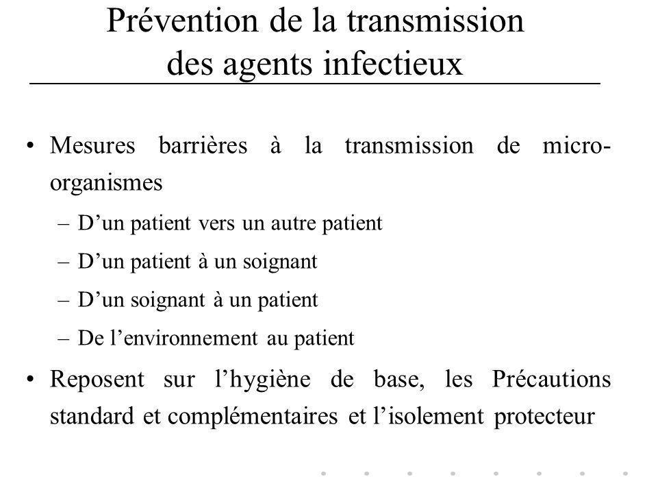 Prévention de la transmission des agents infectieux Mesures barrières à la transmission de micro- organismes –Dun patient vers un autre patient –Dun p