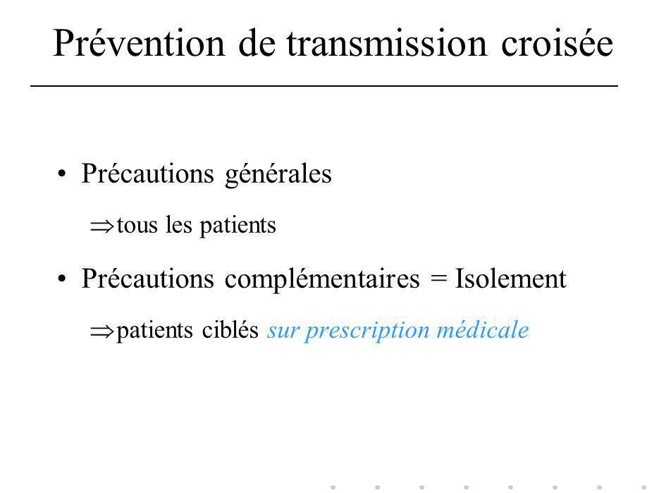 Prévention de transmission croisée Précautions générales tous les patients Précautions complémentaires = Isolement patients ciblés sur prescription mé