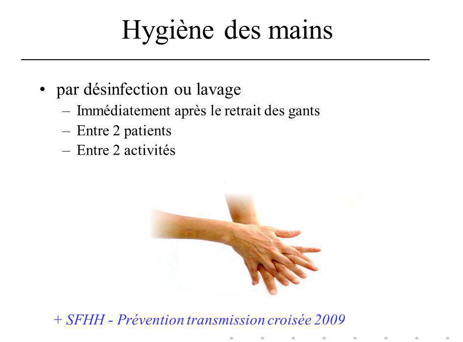 Hygiène des mains par désinfection ou lavage –Immédiatement après le retrait des gants –Entre 2 patients –Entre 2 activités + SFHH - Prévention transm