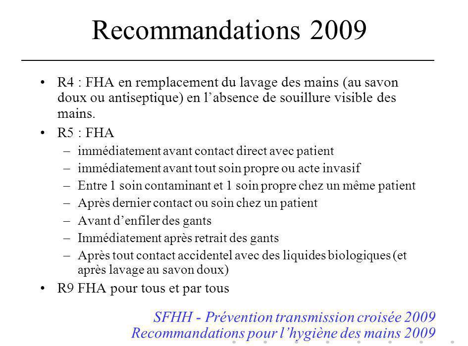 Recommandations 2009 R4 : FHA en remplacement du lavage des mains (au savon doux ou antiseptique) en labsence de souillure visible des mains. R5 : FHA