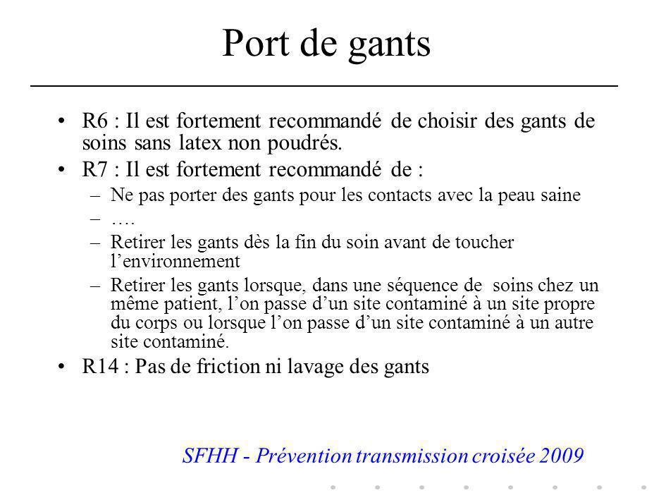 Port de gants R6 : Il est fortement recommandé de choisir des gants de soins sans latex non poudrés. R7 : Il est fortement recommandé de : –Ne pas por
