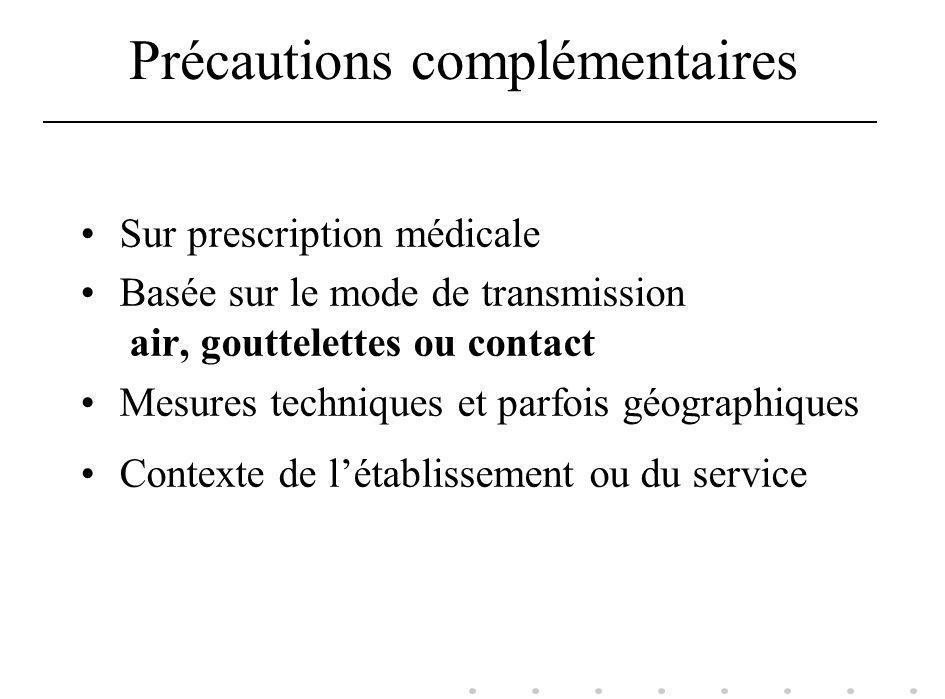 Précautions complémentaires Sur prescription médicale Basée sur le mode de transmission air, gouttelettes ou contact Mesures techniques et parfois géo