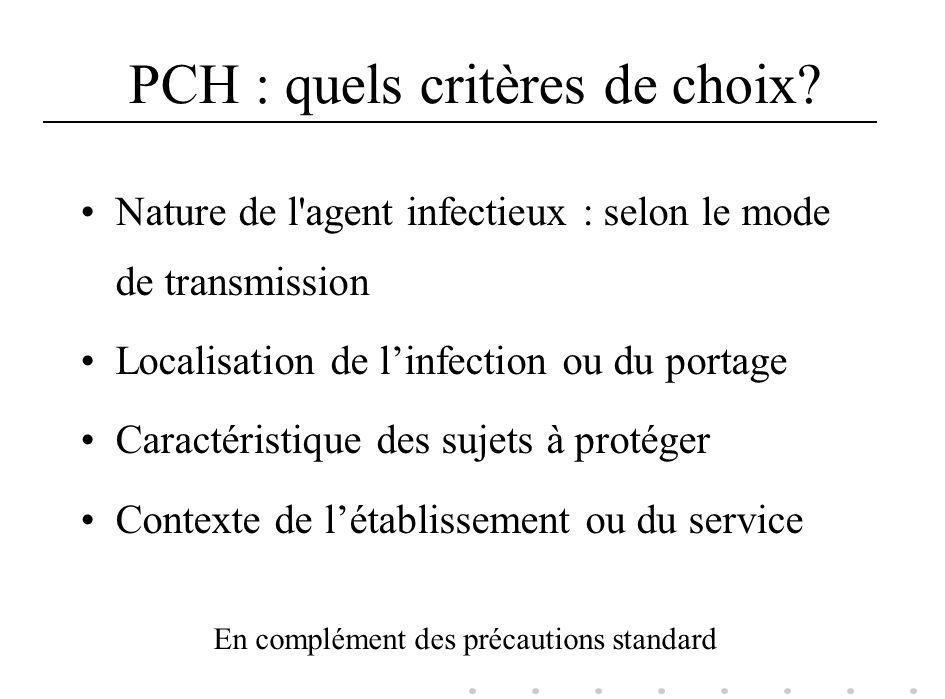 PCH : quels critères de choix? Nature de l'agent infectieux : selon le mode de transmission Localisation de linfection ou du portage Caractéristique d
