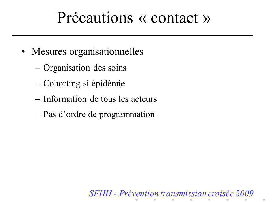 Précautions « contact » Mesures organisationnelles –Organisation des soins –Cohorting si épidémie –Information de tous les acteurs –Pas dordre de prog