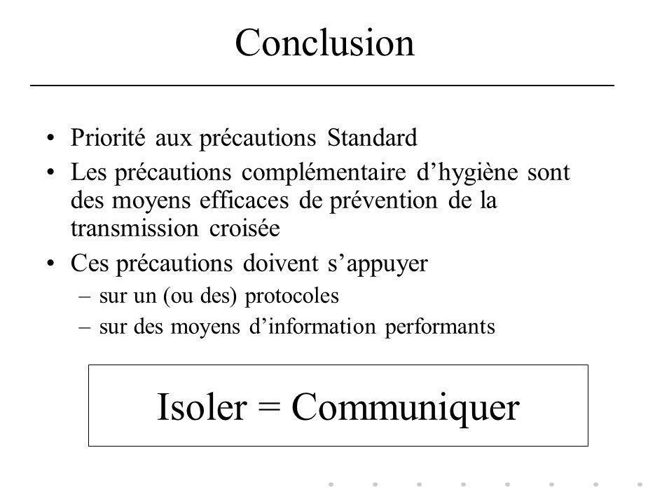 Conclusion Priorité aux précautions Standard Les précautions complémentaire dhygiène sont des moyens efficaces de prévention de la transmission croisé