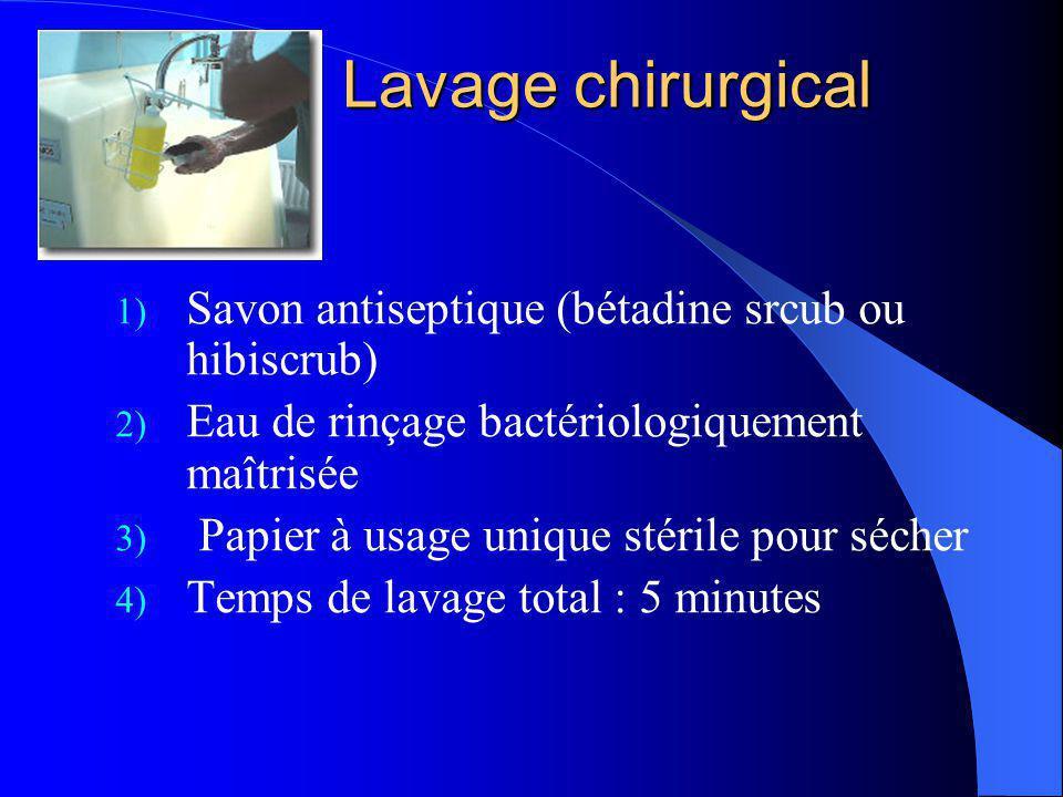 Lavage chirurgical 1) Savon antiseptique (bétadine srcub ou hibiscrub) 2) Eau de rinçage bactériologiquement maîtrisée 3) Papier à usage unique stéril