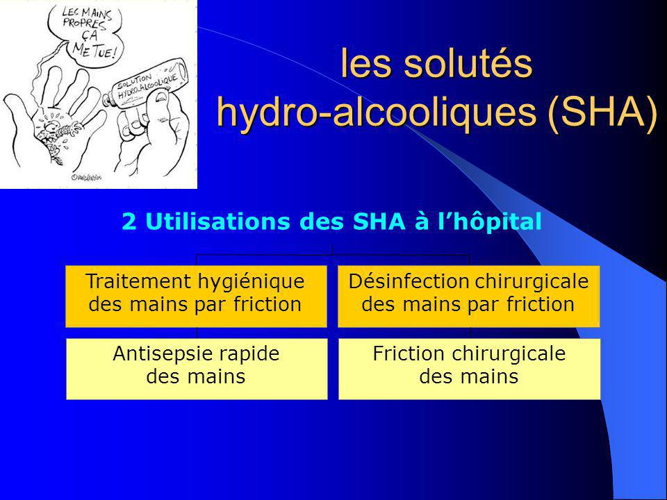 les solutés hydro-alcooliques (SHA) Traitement hygiénique des mains par friction Désinfection chirurgicale des mains par friction 2 Utilisations des S
