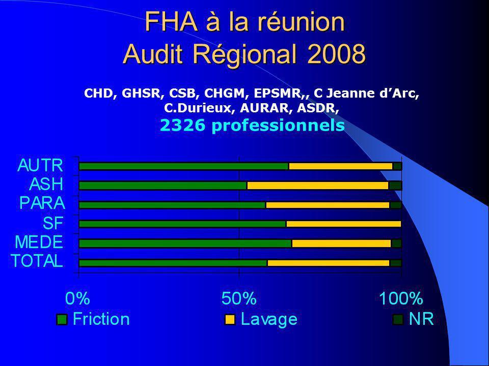 FHA à la réunion Audit Régional 2008 CHD, GHSR, CSB, CHGM, EPSMR,, C Jeanne dArc, C.Durieux, AURAR, ASDR, 2326 professionnels
