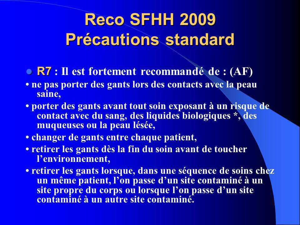 Reco SFHH 2009 Précautions standard R7 R7 : Il est fortement recommandé de : (AF) ne pas porter des gants lors des contacts avec la peau saine, porter