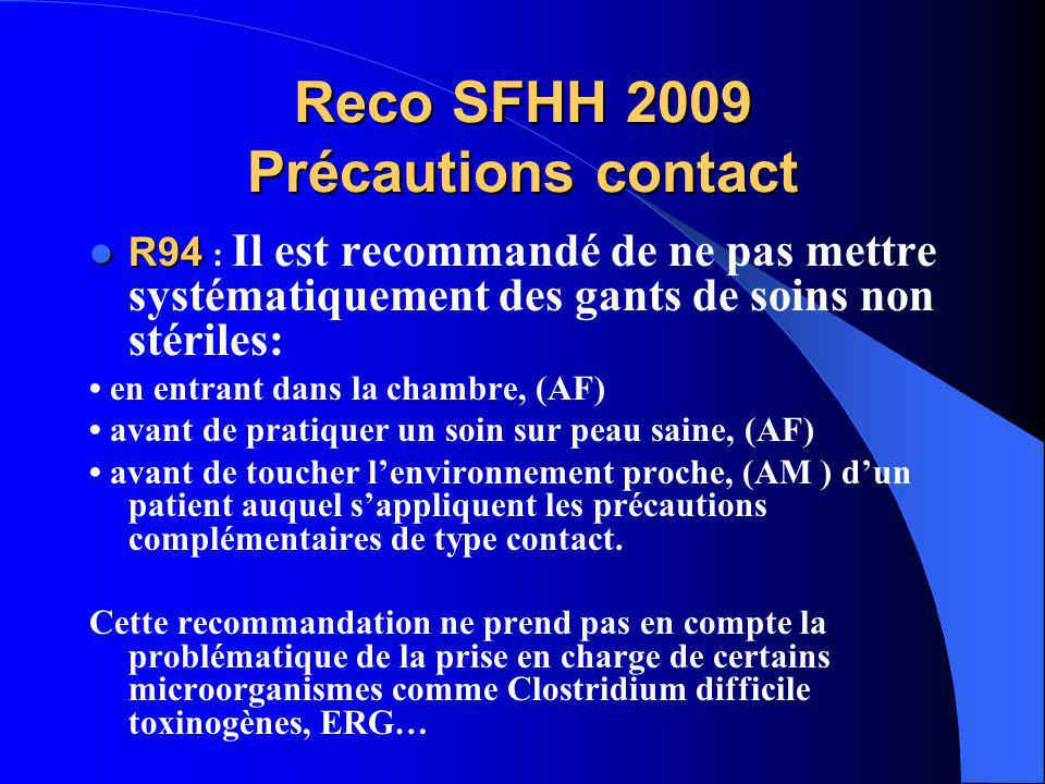 Reco SFHH 2009 Précautions contact R94 R94 : Il est recommandé de ne pas mettre systématiquement des gants de soins non stériles: en entrant dans la c