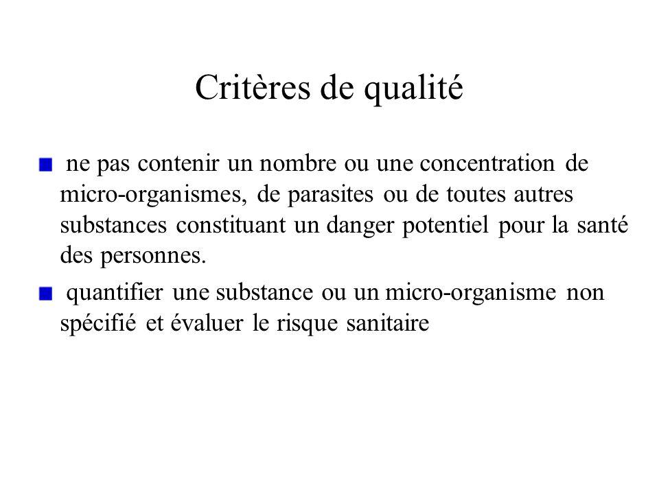 Critères de qualité ne pas contenir un nombre ou une concentration de micro-organismes, de parasites ou de toutes autres substances constituant un dan
