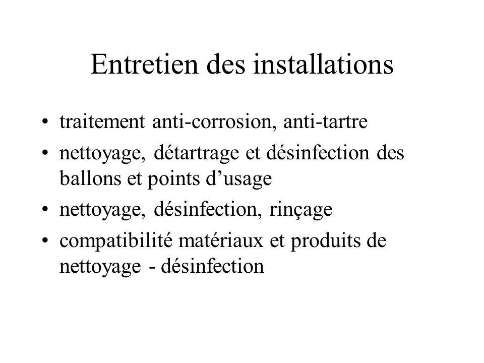 Entretien des installations traitement anti-corrosion, anti-tartre nettoyage, détartrage et désinfection des ballons et points dusage nettoyage, désinfection, rinçage compatibilité matériaux et produits de nettoyage - désinfection