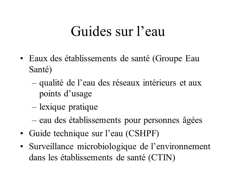 Guides sur leau Eaux des établissements de santé (Groupe Eau Santé) –qualité de leau des réseaux intérieurs et aux points dusage –lexique pratique –ea