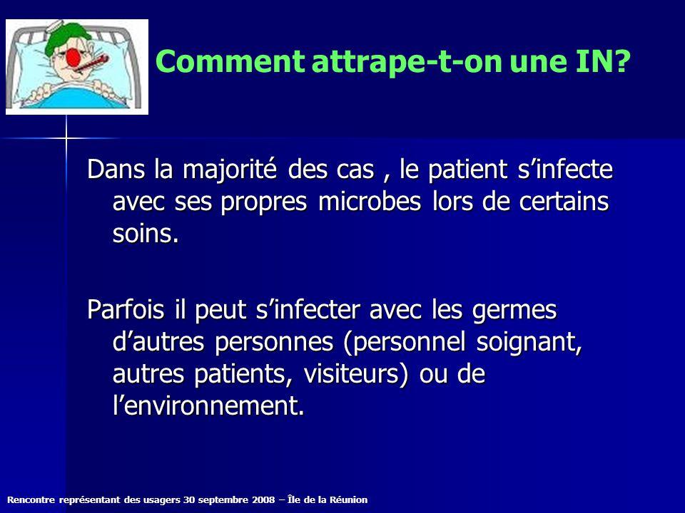 Rencontre représentant des usagers 30 septembre 2008 – Île de la Réunion Comment attrape-t-on une IN? Dans la majorité des cas, le patient sinfecte av
