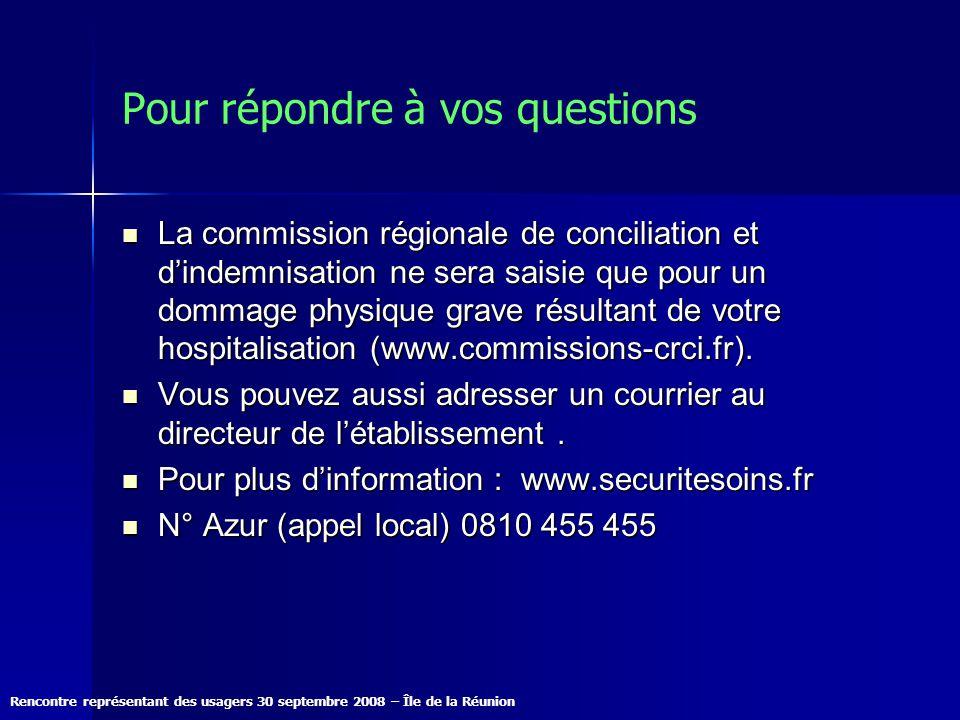 Rencontre représentant des usagers 30 septembre 2008 – Île de la Réunion Pour répondre à vos questions La commission régionale de conciliation et dind