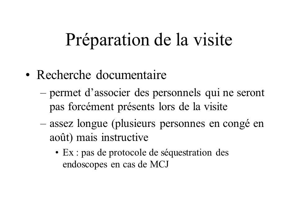 Préparation de la visite Recherche documentaire –permet dassocier des personnels qui ne seront pas forcément présents lors de la visite –assez longue (plusieurs personnes en congé en août) mais instructive Ex : pas de protocole de séquestration des endoscopes en cas de MCJ
