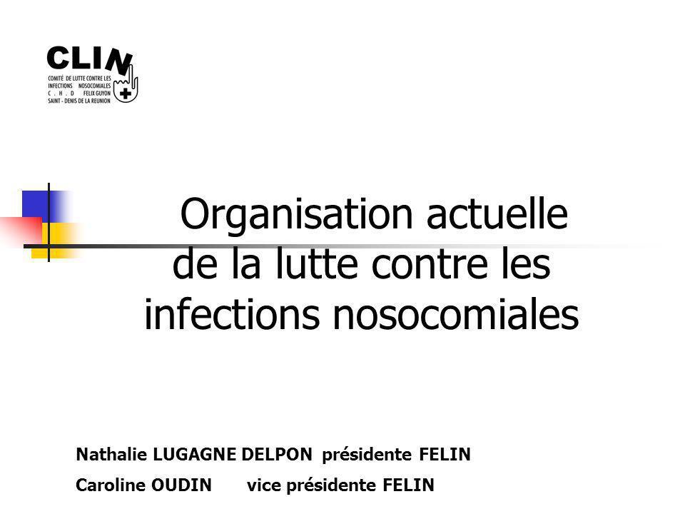 Organisation actuelle de la lutte contre les infections nosocomiales Nathalie LUGAGNE DELPON présidente FELIN Caroline OUDIN vice présidente FELIN