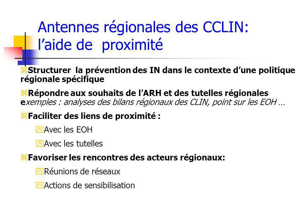Antennes régionales des CCLIN: laide de proximité zStructurer la prévention des IN dans le contexte dune politique régionale spécifique zRépondre aux