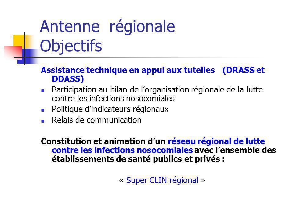 Antenne régionale Objectifs Assistance technique en appui aux tutelles (DRASS et DDASS) Participation au bilan de lorganisation régionale de la lutte