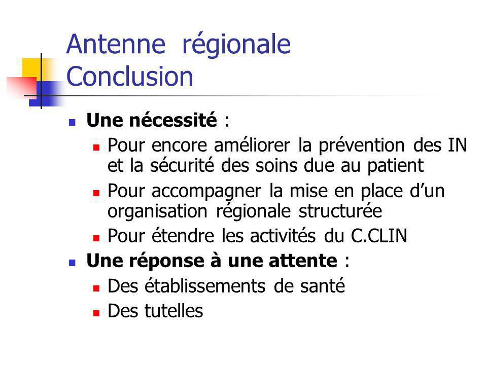 Antenne régionale Conclusion Une nécessité : Pour encore améliorer la prévention des IN et la sécurité des soins due au patient Pour accompagner la mi