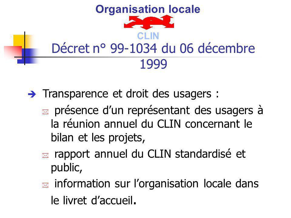 Décret n° 99-1034 du 06 décembre 1999 è Transparence et droit des usagers : * présence dun représentant des usagers à la réunion annuel du CLIN concer