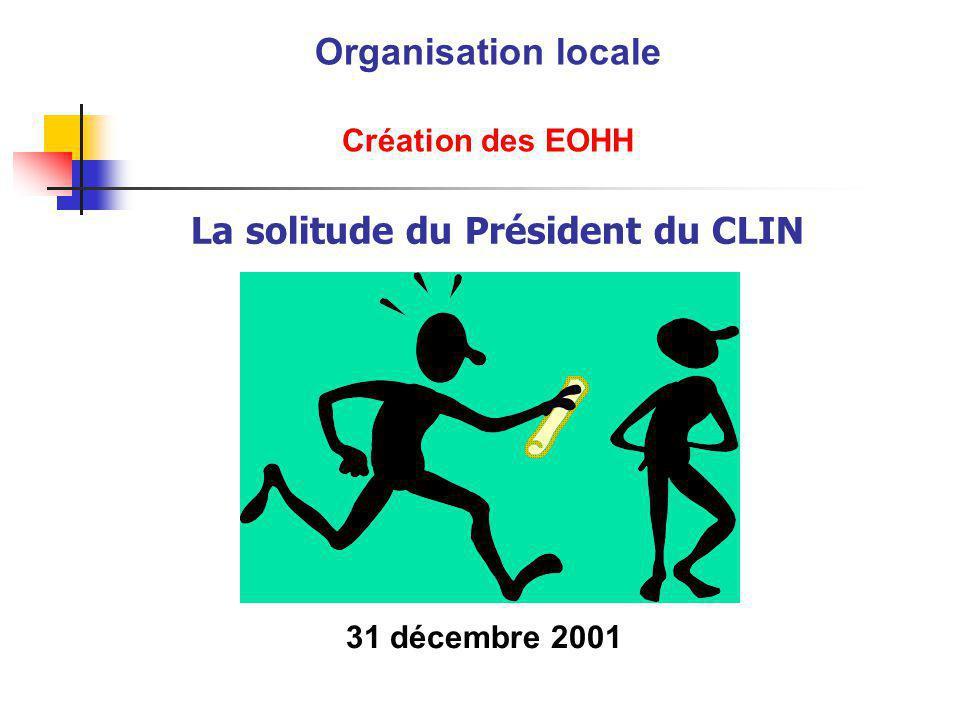La solitude du Président du CLIN Organisation locale Création des EOHH 31 décembre 2001