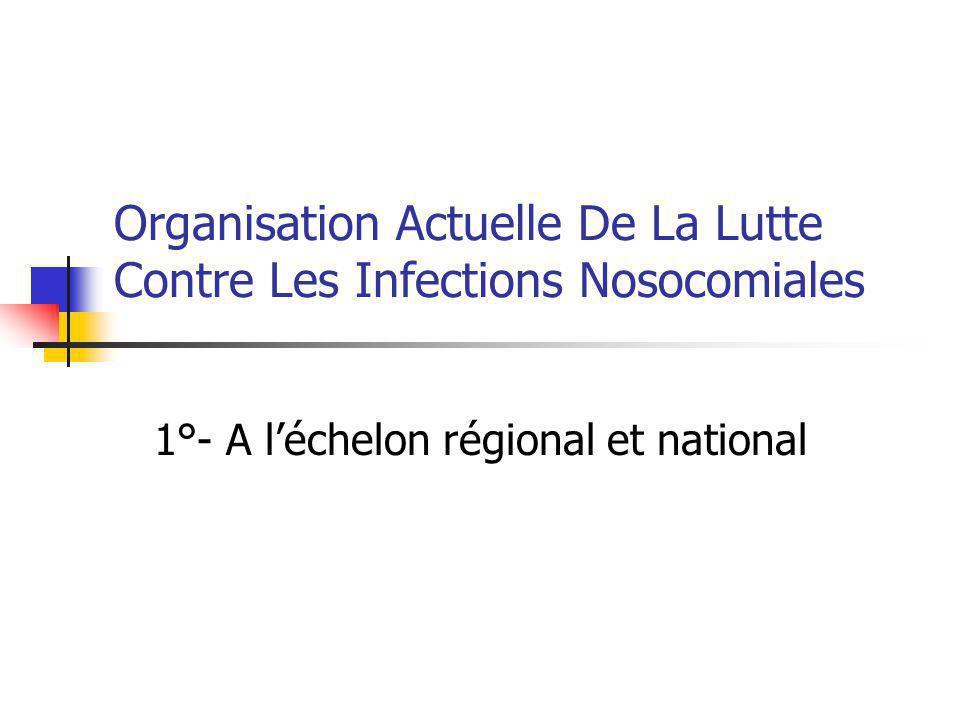 Comité technique national des infections nosocomiales :CTIN 1992=> CTINILS 1°-Proposer,programmer … 2°-Promouvoir…un système de surveillance des IN 3°-Formuler des recommandations… 4°-Assurer la coordination des activités.