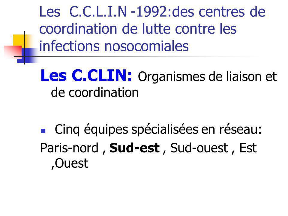 Les C.C.L.I.N -1992:des centres de coordination de lutte contre les infections nosocomiales Les C.CLIN: Organismes de liaison et de coordination Cinq