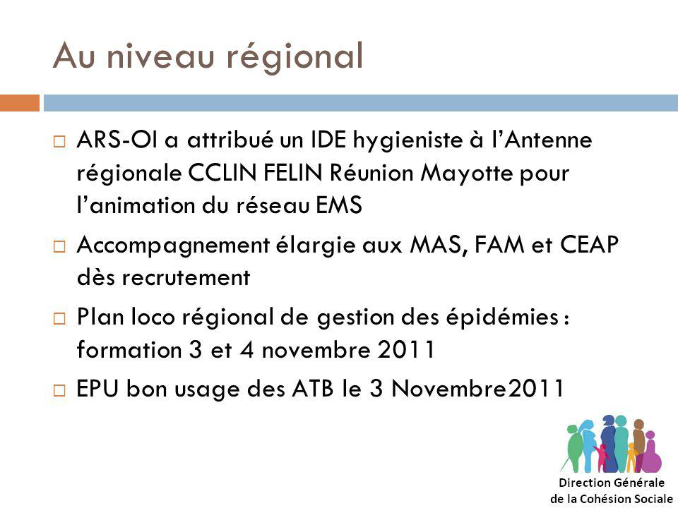 Au niveau régional ARS-OI a attribué un IDE hygieniste à lAntenne régionale CCLIN FELIN Réunion Mayotte pour lanimation du réseau EMS Accompagnement élargie aux MAS, FAM et CEAP dès recrutement Plan loco régional de gestion des épidémies : formation 3 et 4 novembre 2011 EPU bon usage des ATB le 3 Novembre2011