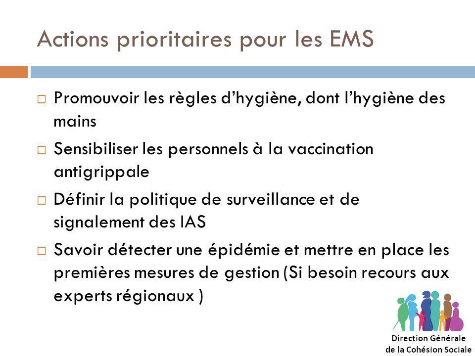 Actions prioritaires pour les EMS Promouvoir les règles dhygiène, dont lhygiène des mains Sensibiliser les personnels à la vaccination antigrippale Définir la politique de surveillance et de signalement des IAS Savoir détecter une épidémie et mettre en place les premières mesures de gestion (Si besoin recours aux experts régionaux )