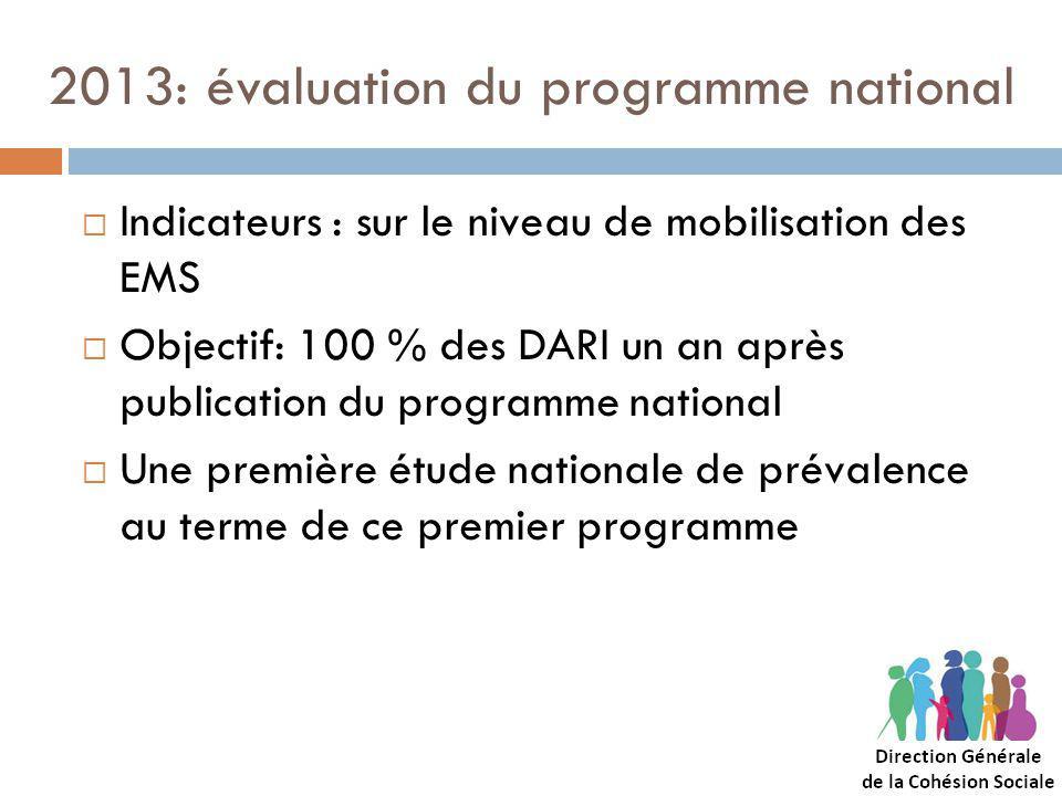 2013: évaluation du programme national Indicateurs : sur le niveau de mobilisation des EMS Objectif: 100 % des DARI un an après publication du programme national Une première étude nationale de prévalence au terme de ce premier programme