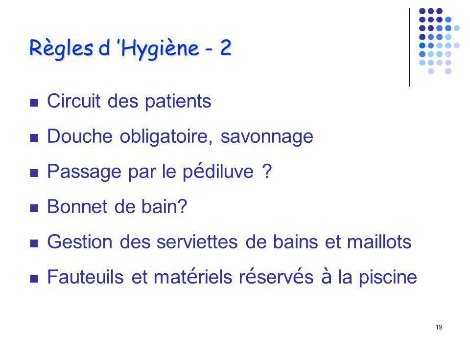 18 Règles d Hygiène - 1 Doivent être respectées par les baigneurs et les intervenants Information des patients (plaquette) Accès limité à la piscine S