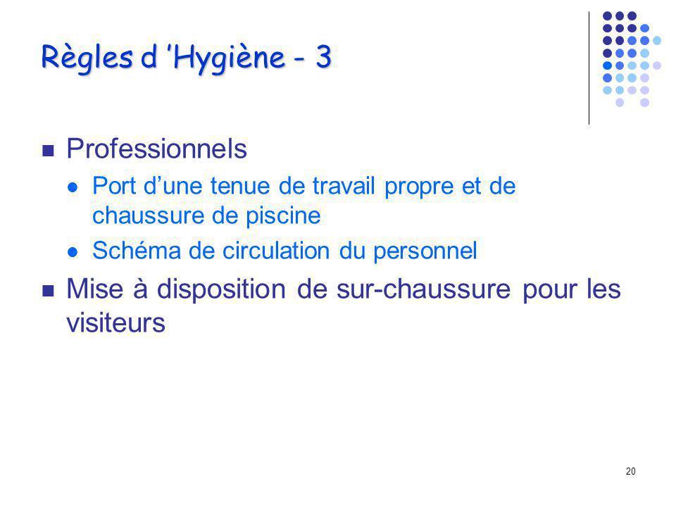 19 Règles d Hygiène - 2 Circuit des patients Douche obligatoire, savonnage Passage par le p é diluve ? Bonnet de bain? Gestion des serviettes de bains