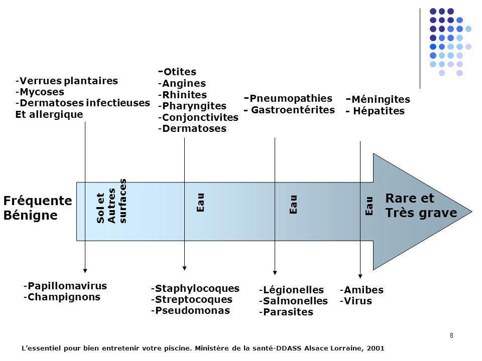 8 -Verrues plantaires -Mycoses -Dermatoses infectieuses Et allergique -Papillomavirus -Champignons Fréquente Bénigne Rare et Très grave Sol et Autres surfaces - Otites -Angines -Rhinites -Pharyngites -Conjonctivites -Dermatoses -Staphylocoques -Streptocoques -Pseudomonas Eau - Pneumopathies - Gastroentérites -Légionelles -Salmonelles -Parasites Eau - Méningites - Hépatites -Amibes -Virus Eau Lessentiel pour bien entretenir votre piscine.