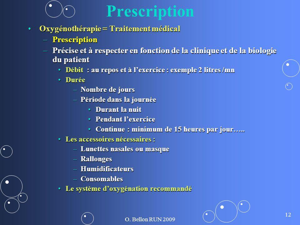 O. Bellon RUN 2009 12 Prescription Oxygénothérapie = Traitement médicalOxygénothérapie = Traitement médical –Prescription –Précise et à respecter en f