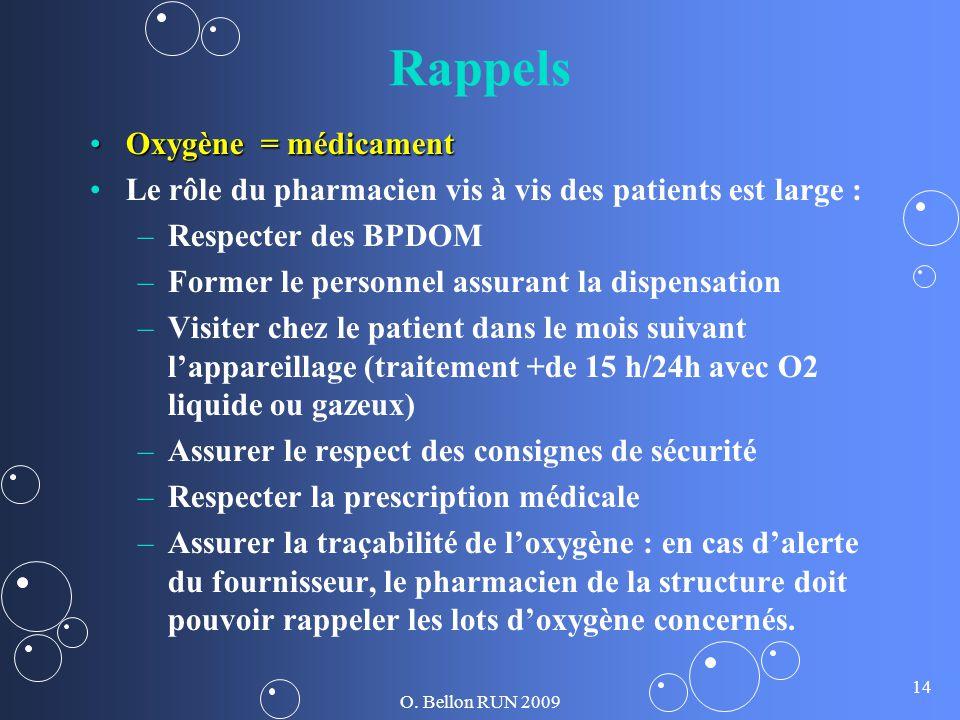 O. Bellon RUN 2009 14 Rappels Oxygène = médicamentOxygène = médicament Le rôle du pharmacien vis à vis des patients est large : – –Respecter des BPDOM