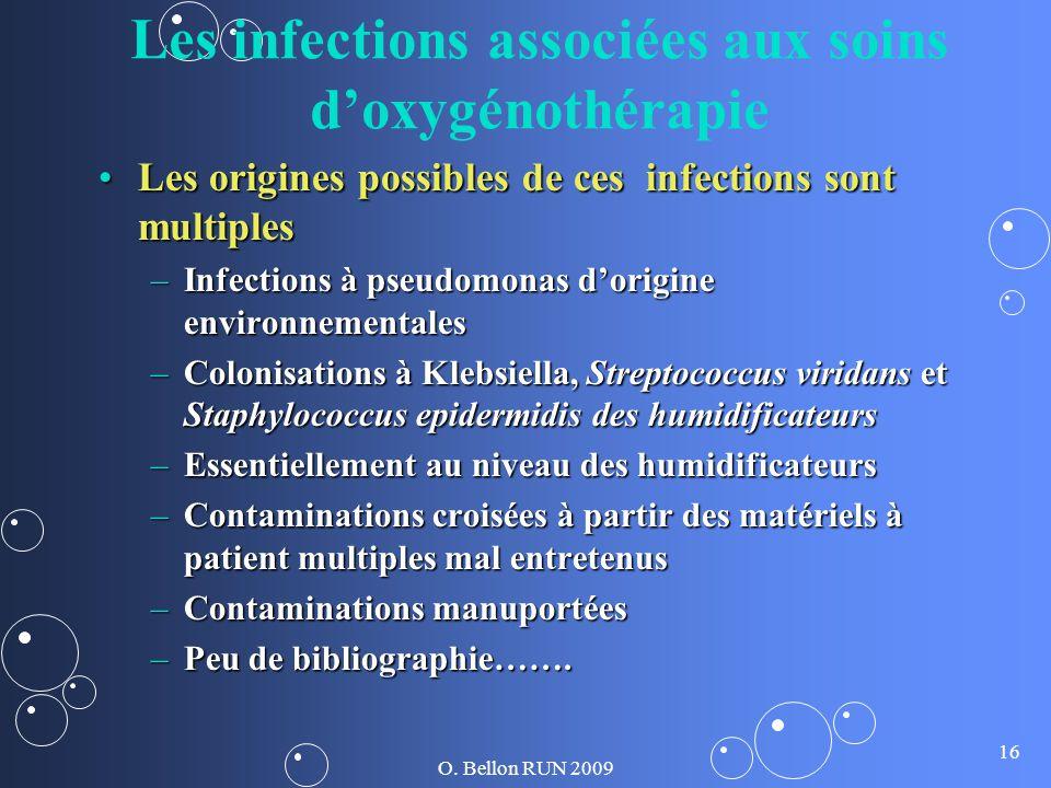 O. Bellon RUN 2009 16 Les infections associées aux soins doxygénothérapie Les origines possibles de ces infections sont multiplesLes origines possible