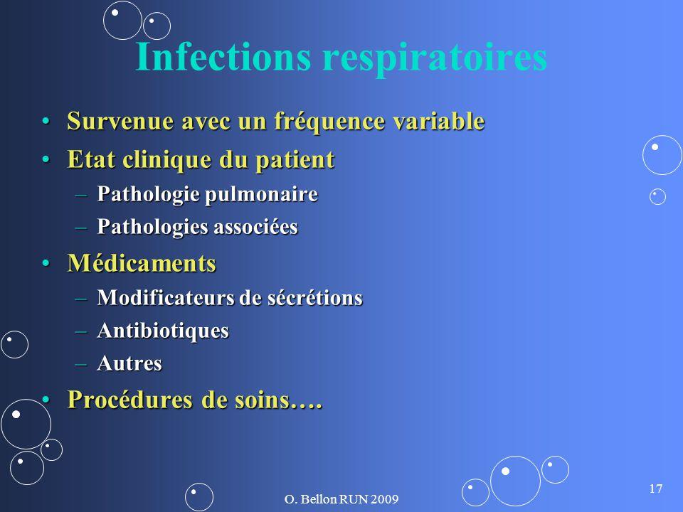 O. Bellon RUN 2009 17 Infections respiratoires Survenue avec un fréquence variableSurvenue avec un fréquence variable Etat clinique du patientEtat cli