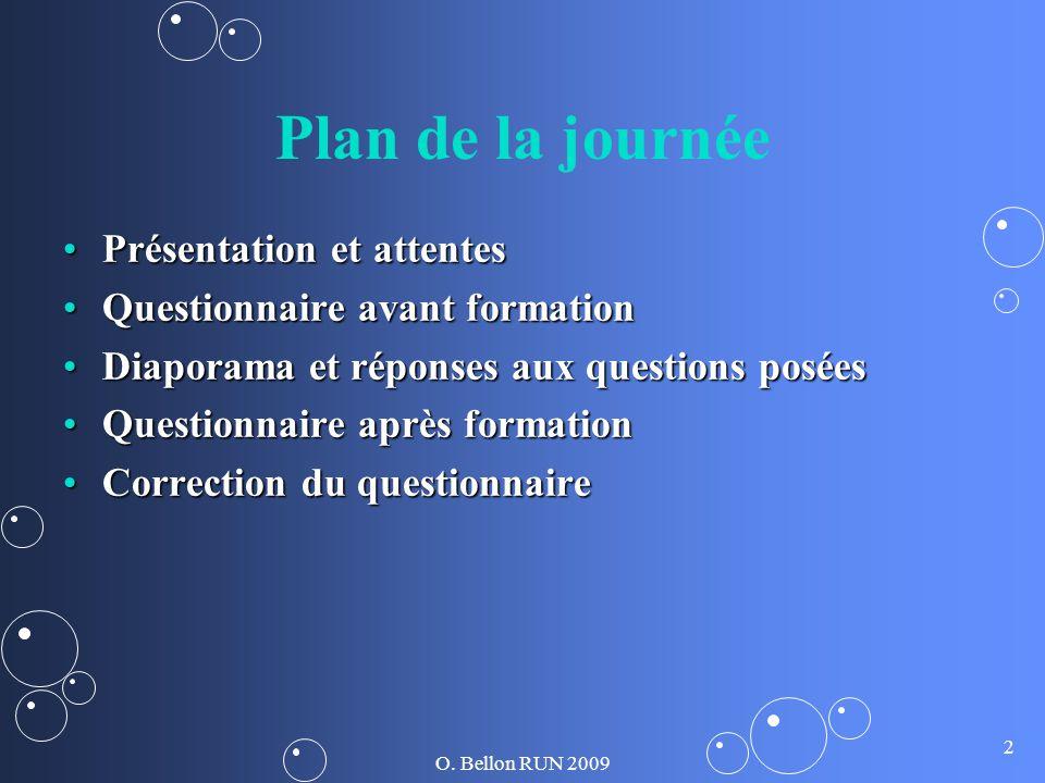 O. Bellon RUN 2009 2 Plan de la journée Présentation et attentesPrésentation et attentes Questionnaire avant formationQuestionnaire avant formation Di